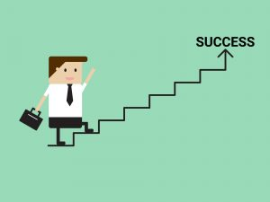 Businessman walking on stairs to success. Vector